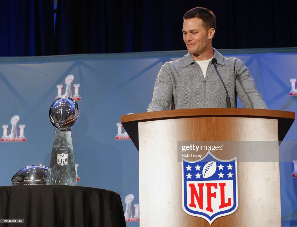 Super Bowl LI MVP Tom Brady talks with the media about their win over the Atlanta Falcons at the Super Bowl Winner and MVP press conference on February 6, 2017 in Houston, Texas.