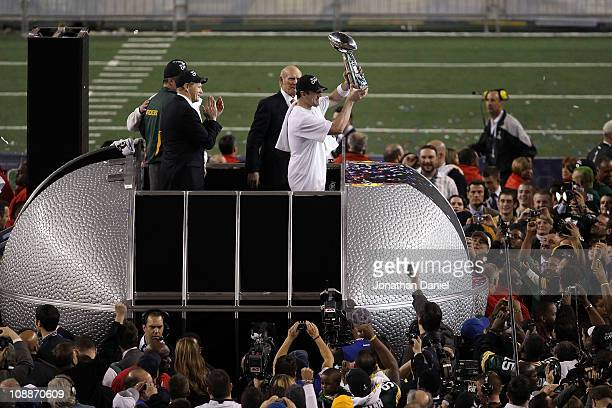 Super Bowl MVP Aaron Rodgers of the Green Bay Packers holds up The Vince Lombardi Trophy after the Green Bay Packers defeated the Pittsburgh Steelers...