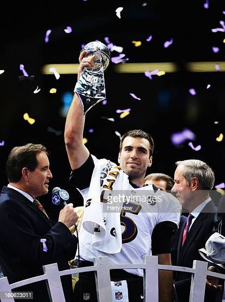 Super Bowl MVP Joe Flacco of the Baltimore Ravens celebrates with the Vince Lombardi trophy after the Ravens won 3431 against the San Francisco 49ers...