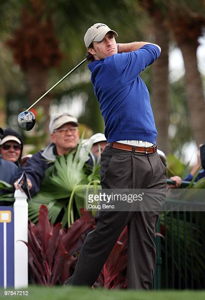 Super Bowl winning quarterback Drew Brees of the New Orleans Saints hits his tee shot on the first hole during the Honda Classic Kenny G Gold ProAm...