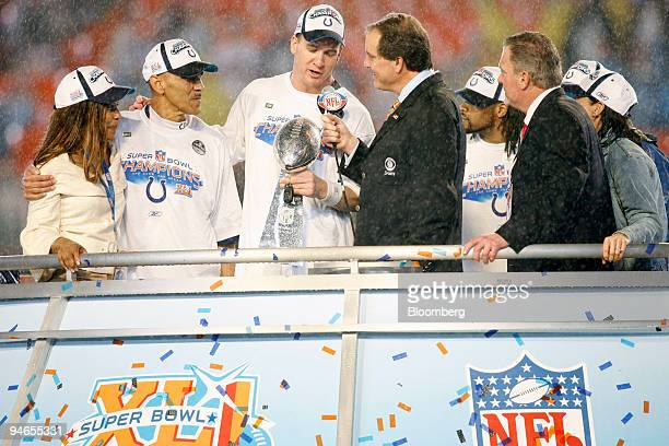 Super Bowl XLI Most Valuable Player Peyton Manning of the Indianapolis Colts answers a question from broadcaster Jim Nantz after the Colts defeated...