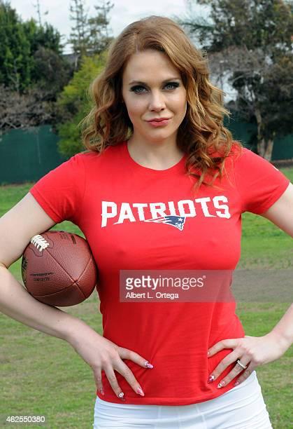 Super Bowl XLIX Patriots Vs Seahawks Shoot With Actress Maitland Ward taken at Pan Pacific Park on January 30 2015 in Los Angeles California