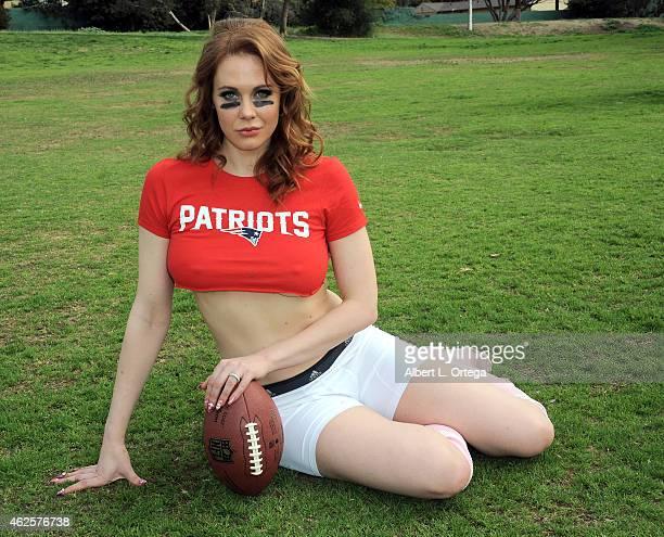 Super Bowl XLIX Patriots Vs Seahawks Shoot With Actress Maitland Ward held at Pan Pacific Park on January 30 2015 in Los Angeles California