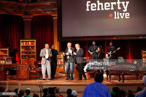 Former football coach Herm Edwards golfers Rocco Mediate Gary McCord and host David Feherty speak onstage during 'Feherty Live' at the Orpheum...