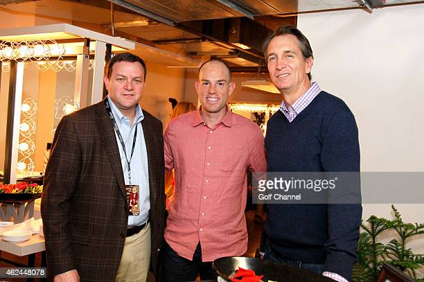 Mark Lazarus Chairman NBC Sports Group professional football player Robbie Gould and NBC sportscaster Cris Collinsworth backstage during 'Feherty...