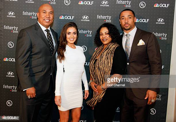 NBC football analyst Hines Ward Lindsey GeorgalasWard Erika Harrison and NBC football analyst Rodney Harrison attend Feherty Live at the Orpheum...