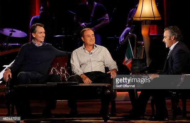 NBC sportscasters Cris Collinsworth Al Michaels and host David Feherty speak onstage during Feherty Live at the Orpheum Theatre Phoenix Arizona