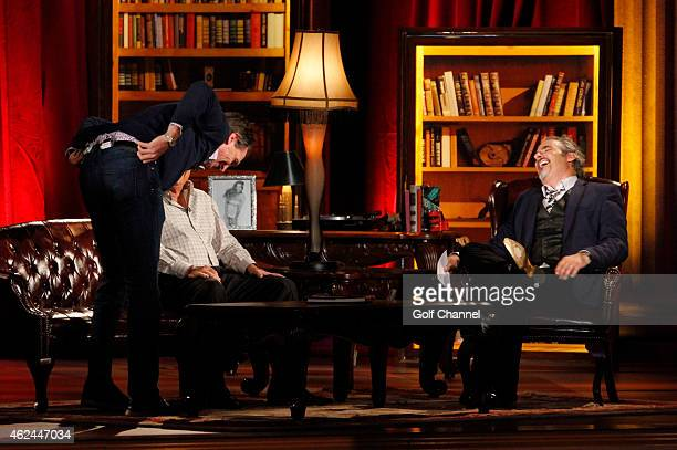 NBC sportscasters Cris Collinsworth Al Michaels and host David Feherty speak onstage during Feherty Live at the Orpheum Theatre Phoenix Arizona
