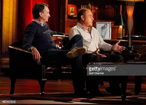 NBC sportscasters Cris Collinsworth and Al Michaels speak onstage during Feherty Live at the Orpheum Theatre Phoenix Arizona