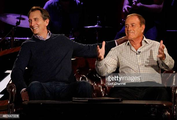 NBC sportscasters Cris Collinsworth and Al Michaels speak onstage during Feherty Live at the Orpheum Theatre Phoenix Arizona