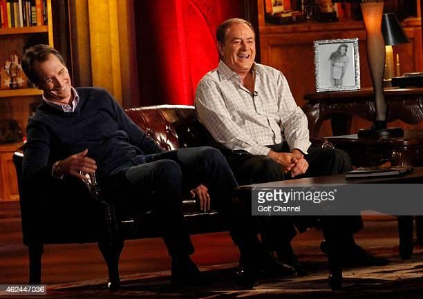 NBC sportscasters Cris Collinsworth and Al Michaels speak onstage during 'Feherty Live' at the Orpheum Theatre Phoenix Arizona
