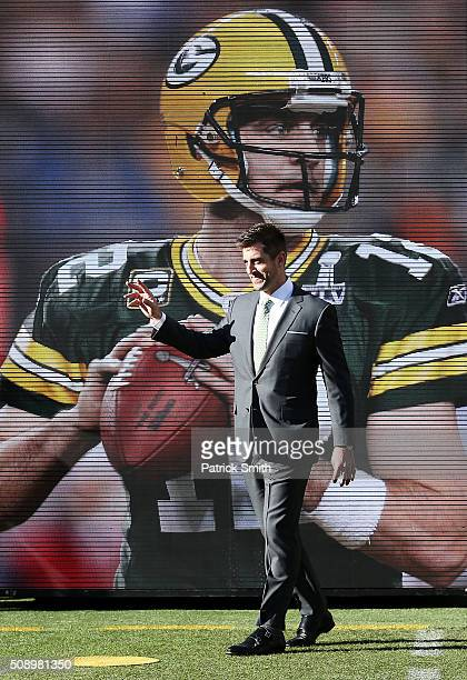Super Bowl XLV MVP Aaron Rodgers of the Green Bay Packers looks on during Super Bowl 50 between the Denver Broncos and the Carolina Panthers at...