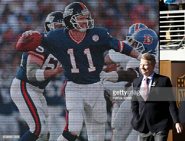Super Bowl XXI MVP Phil Simms looks on during Super Bowl 50 between the Denver Broncos and the Carolina Panthers at Levi's Stadium on February 7 2016...