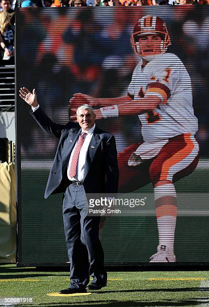 Super Bowl XXVI MVP Mark Rypien looks on during Super Bowl 50 between the Denver Broncos and the Carolina Panthers at Levi's Stadium on February 7...