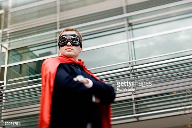 super businessman - cape stockfoto's en -beelden