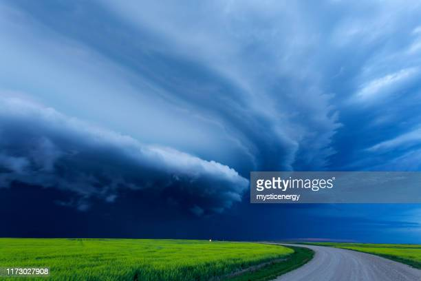 super cell prairie storm saskatchewan canada - saskatchewan stock pictures, royalty-free photos & images