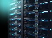 super computer server racks in datacenter. 3d illustration