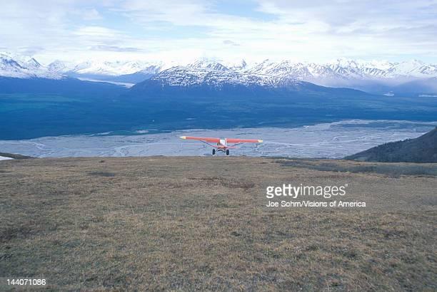 Super Cub Piper bush airplane in St Elias National Park and Preserve Wrangell Mountains Wrangell Alaska