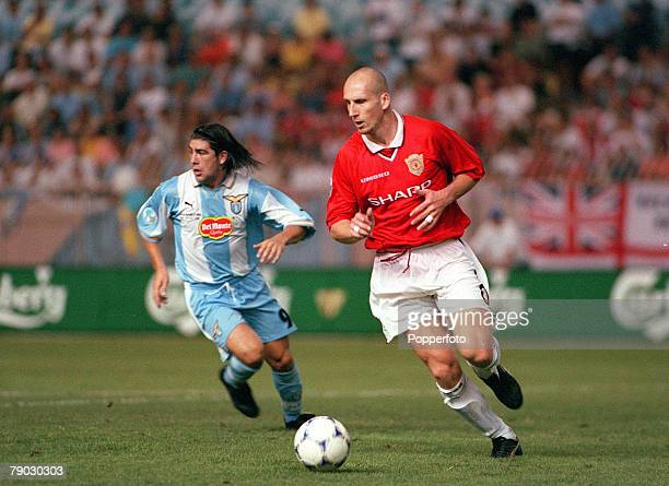 Super Cup Final Monaco 27th August Lazio 1 v Manchester United 0 Manchester United's Jaap Stam on the ball chased by Lazio's Marcelo Salas