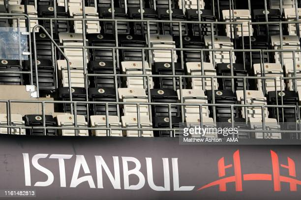 Super Cup Istanbul signage in the stadium ahead of the UEFA Super Cup Final between Liverpool and Chelsea at the Vodafone Arena on August 13, 2019 in...