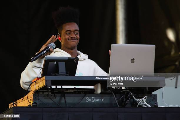 Super Duper Brick performs with Super Duper Kyle at the Upstream Music Festival in Pioneer Square on June 1 2018 in Seattle Washington