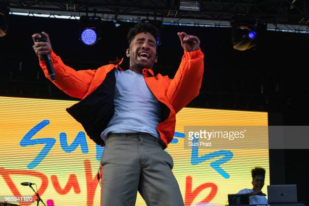 Super Duper Kyle performs at the Upstream Music Festival at Pioneer Square on June 1 2018 in Seattle Washington