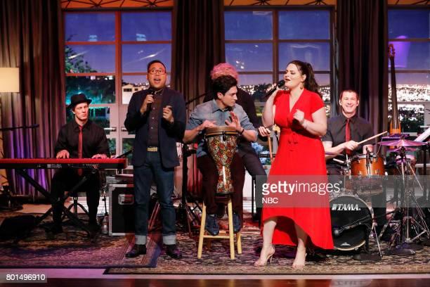 """Super Duper Store Night"""" Episode 502 -- Pictured: Nico Santos, Ben Feldman, Lauren Ash --"""