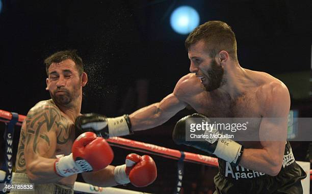 Super Featherweight bout between Anthony Cacace and Santiago Bustos on the Frampton v Avalos undercard bill at Odyssey Arena on February 28 2015 in...