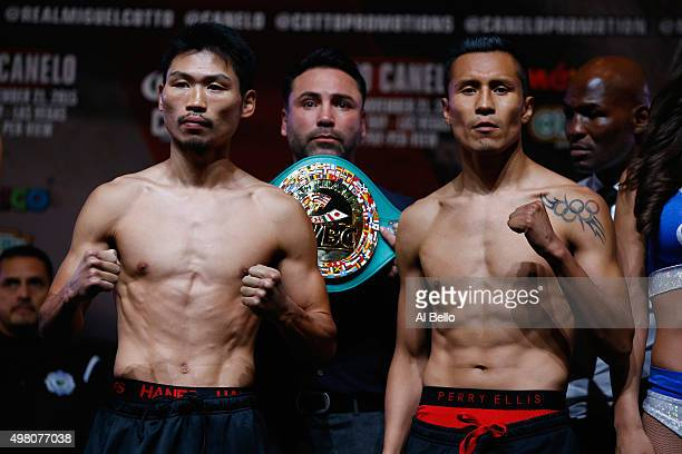 WBC super featherweight champion Takashi Miura and Francisco Vargas face off during their official weighin at the Mandalay Bay Events Center on...