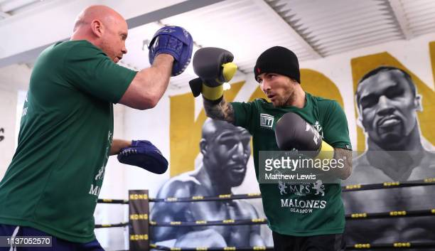 Super Featherweight Jordan McCory pictured during a Boxing Media Work Out at Kings Gym in Leicester on March 20 2019 in Leicester England