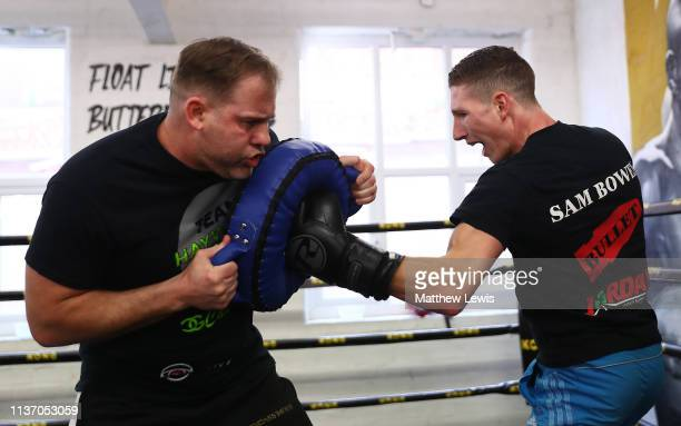 Super Featherweight Sam Bowen pictured during a Boxing Media Work Out at Kings Gym in Leicester on March 20 2019 in Leicester England