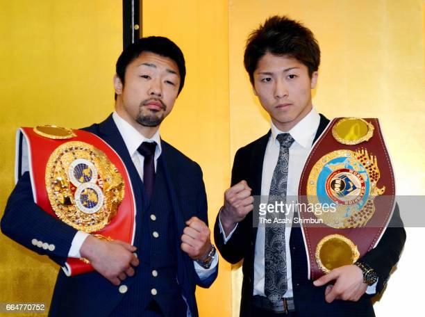 WBO Super Flyweight champion Naoya Inoue and IBF Light Flyweight second ranking Akira Yaegashi pose for photographs during a press conference on...
