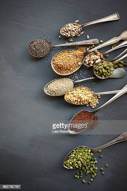 Super food grains on spoons