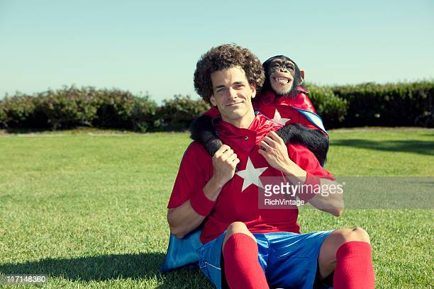 super friends - monkey man stock pictures, royalty-free photos & images