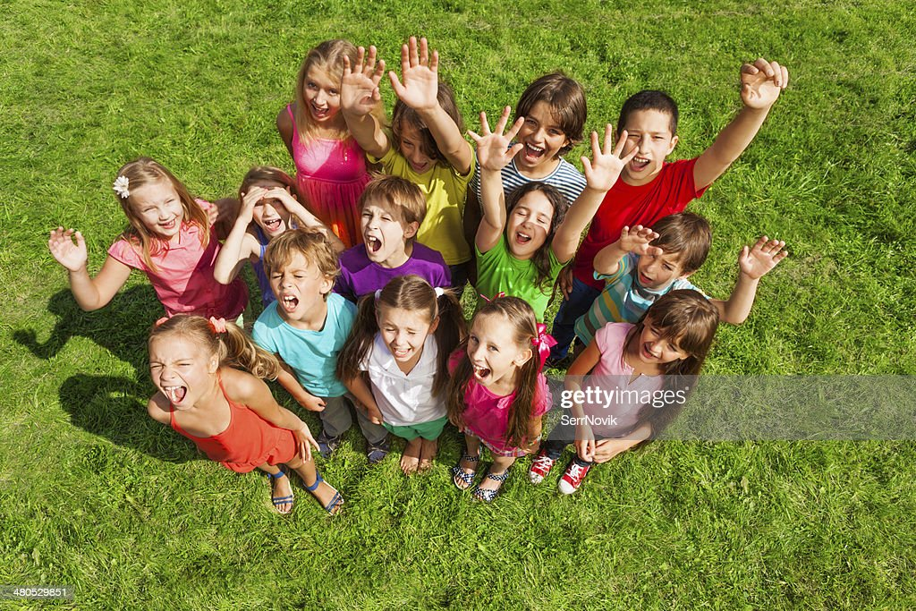 Super happy large group of kids : Stock Photo