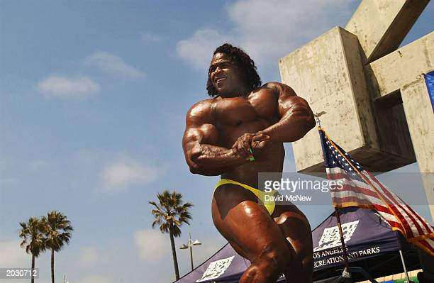 Super heavyweight guest poser Jarome 'Hollywood' Ferguson shows off for the annual Venice Classic bodybuilding competition at Venice Beach on May 26...