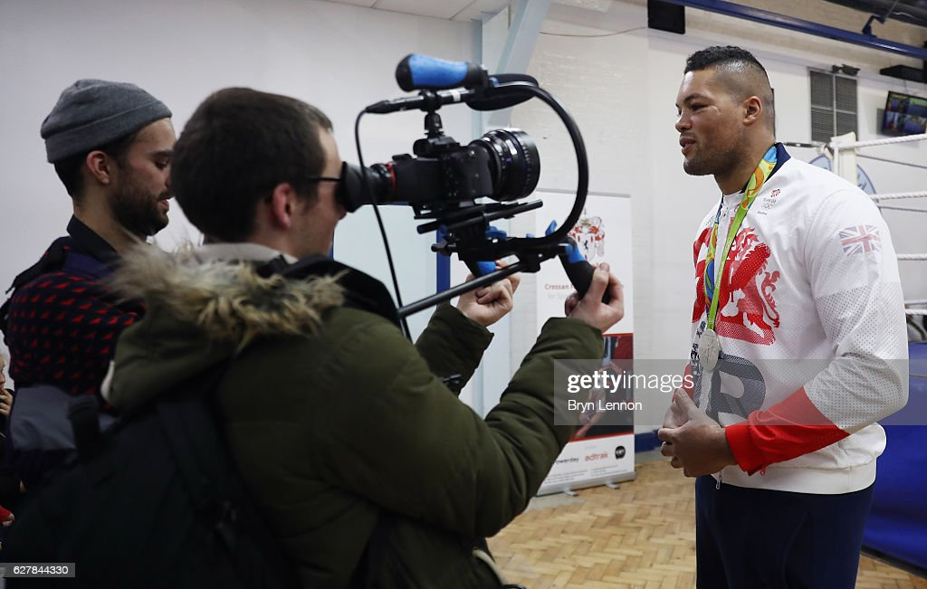 Super Heavyweight Olympic Silver Medallist Joe Joyce is interviewed during the Reopening of Earlsfield Amateur Boxing Club on December 5, 2016 in London, England.