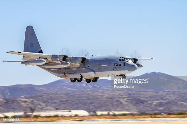 c-130j super hercules built by lockheed martin - cargo airplane stock photos and pictures