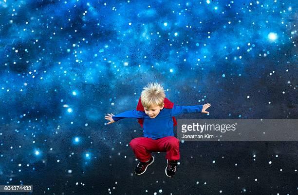 Super Hero against a field of stars