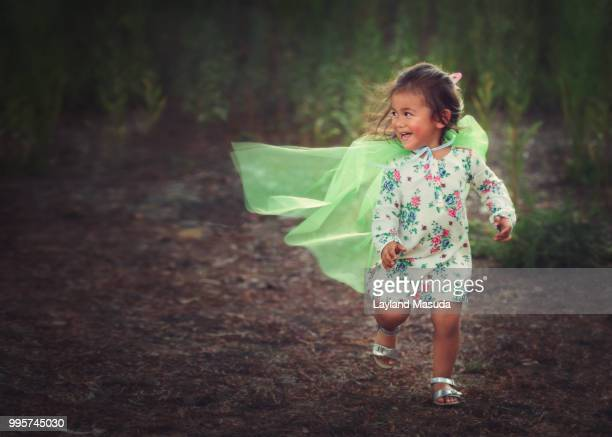 Super Hero Toddler Girl With Green Cape