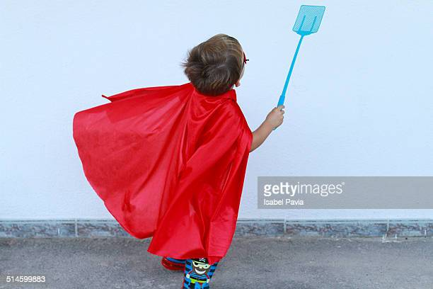Super hero with a fly swatter