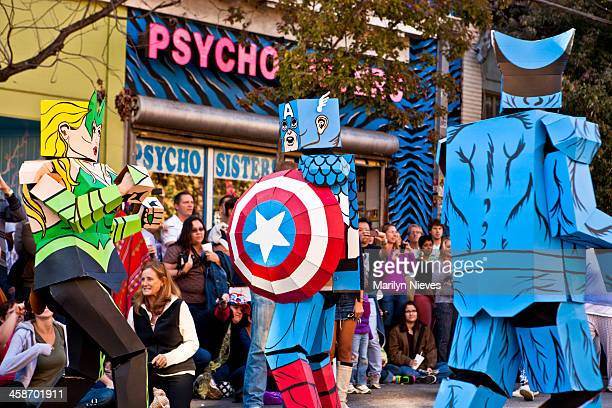 super heroes - cartoon halloween stock photos and pictures