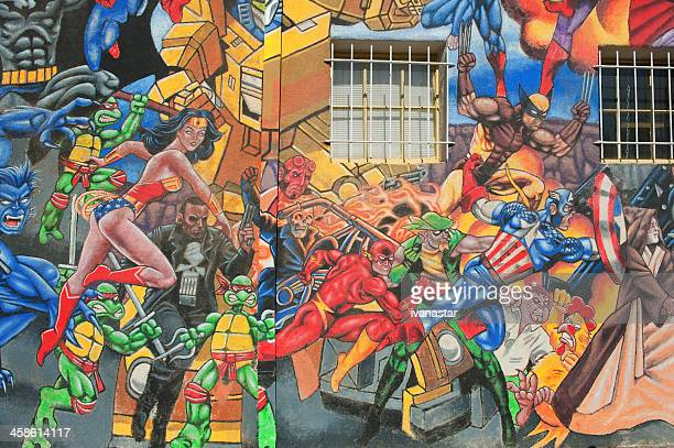 super heros street mural - incredible hulk stock photos and pictures