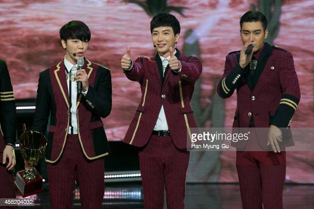 Super Junior perform on stage during the MBC Music 'Show Champion' on September 10 2014 in Ilsan South Korea