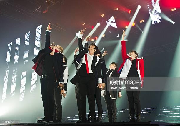 Super Junior performs at Zenith de Paris on April 6, 2012 in Paris, France.