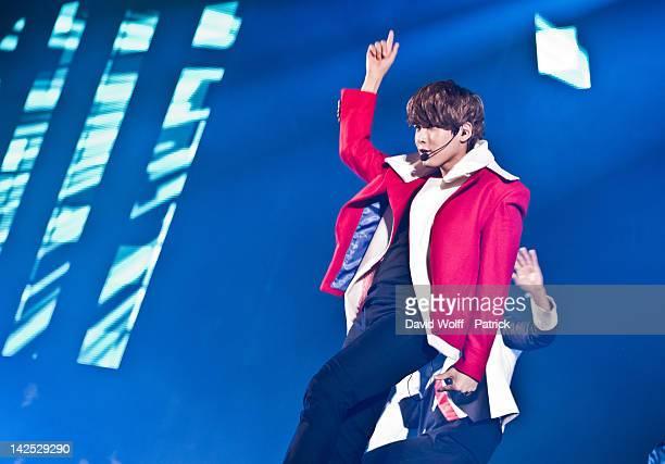 Super Junior performs at Zenith de Paris on April 6 2012 in Paris France