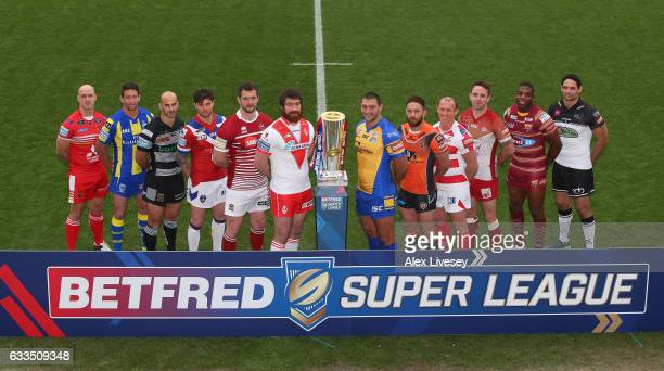 Super League players Michael Dobson of Salford Red Devils Kurt Gidley of Warrington Wolves Danny Houghton of Hull FC Scott Grix of Wakefield Trinity...
