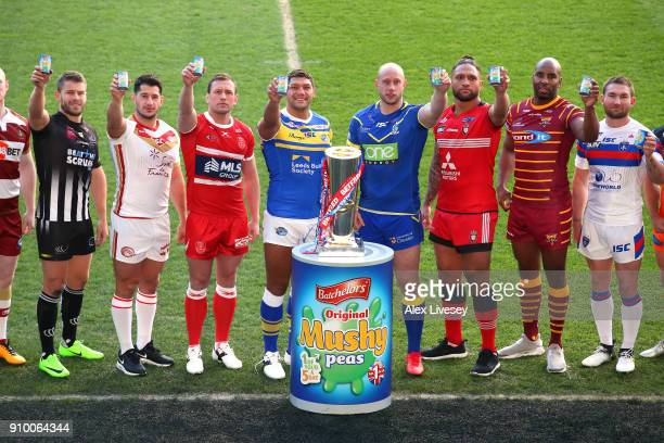 Super League players pose with tins of mushy peas during Super League 2018 Season Launch the at John Smith's Stadium on January 25 2018 in...