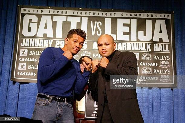 WBC Super Lightweight Champion Arturo Gatti and Challenger Jesse James Leija pose during a press conference at Bally's Atlantic City announcing their...