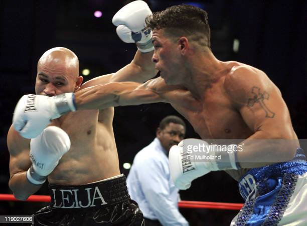 WBC Super Lightweight Champion Arturo Gatti lands a right punch on Jesse James Leija during their 12round title fight at Boardwalk Hall in Atlantic...